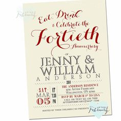40th Anniversary Invitation 40th Wedding by AfterFebruary on Etsy