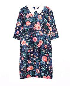 Dark Color Print Lapel Collar Dress