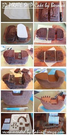 Pirate cake tutorial step by step picturesNoah's ark OR pirate ship! Cake Decorating Techniques, Cake Decorating Tutorials, Decorating Ideas, Pirate Ship Cakes, Pirate Boat Cake, Sculpted Cakes, Birthday Cake Decorating, Novelty Cakes, Food Cakes