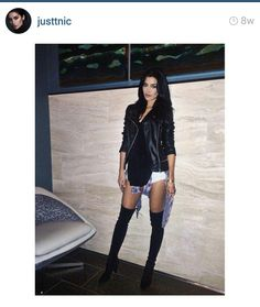 over the knee boots, leather jacket