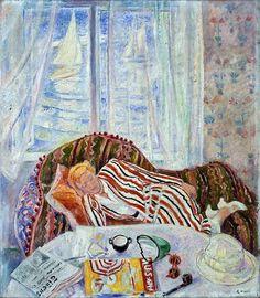 Summer interiors - Arne Kavli , c. Norwegian, Oil on canvas Scandinavian Artwork, European Paintings, Black White Art, Paul Gauguin, College Fun, College Football, Henri Matisse, Claude Monet, Artist Art