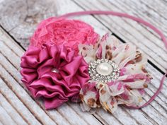 Sugar and Spice - Limited Edition - fabric ruffle & rosette with lace, gems, and pearls headband by SoTweetDesigns, $11.00