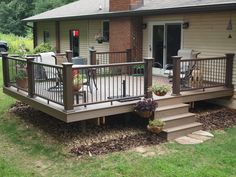 This was a re-deck over an existing frame. New tiger wood decking with new posts, rails and balusters. Patio Gazebo, Back Patio, Patio Bed, Patio Stairs, Backyard Decks, Front Deck, Small Patio, Front Porch, Deck Framing