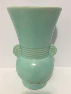 ANTIQUE 1930's BRUSH MCCOY USA Aqua Art Pottery Vase No. 527 Art Deco