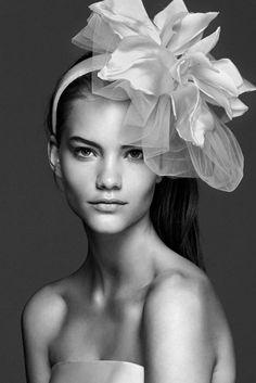 ITALO, Milk-white satin headband with large flower on the side. #maxmarabridal #weddingaccessories #wedding
