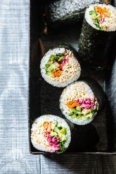 Rainbow Spicy Tofu Sushi Burritos {vegan}