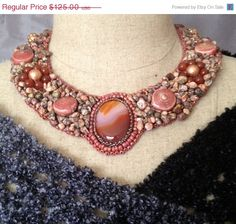 ON SALE Carnelian Cabachon Bead Embroidered by necklace, #bead embroidered necklace,