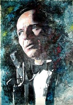 """""""At the Sands"""" Frank Sinatra - Jazz - mixed media - 28x40 inches - Original art by Marcelo Neira"""