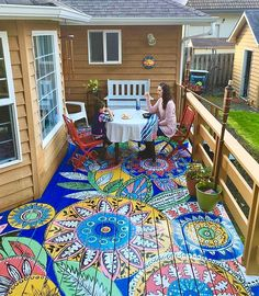Bohemian patio diy painted floors 31 new ideas Patio Diy, Pergola Patio, Patio Ideas, Small Pergola, Modern Pergola, Small Patio, Pergola Kits, Pergola Ideas, Backyard Ideas