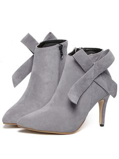Grey High Heel Point Toe Bow Boots 37.77