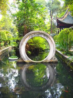 Moon gate on the water
