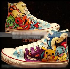 Pokemon Custom Hand Painted HiTop Canvas Shoes by Buysogoods, $55.99