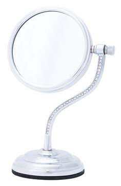 Curved Stem Mini Mirror with Crystals
