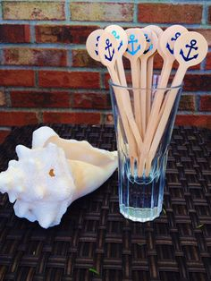 Party Stir or Food Sticks - Anchors - Nautical Theme Wedding Party - Seaside - Stir Sticks - Foil Printing - Anchor Party Details