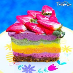 A slice of fully raw, vegan, healthy rainbow cake by Instagram user #fullyrawkristina.
