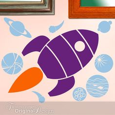 Kids Room Vinyl Wall Decal: Retro Futuristic Rocket Ship, Spaceship with Planets, Comets and Moon x33