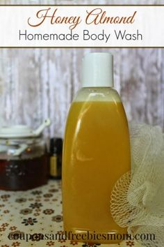 Easy Homemade Honey Almond Body Wash! Save money when you make your own DIY Body wash! Great for inexpensive homemade gifts! You might think the honey makes it sticky, but instead it's luxurious and moisturizing, with an amazing scent. You won't believe what you've been missing until you've tried it! Check out this easy recipe right now!