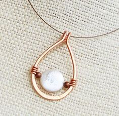 Minimalist Copper Coin Pearl Drop Necklace by karalmava Pearl Drop Necklace, Wire Necklace, Copper Necklace, Copper Jewelry, Simple Necklace, Necklaces, Earrings, Wire Pendant, Pendant Jewelry