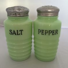 VINTAGE SALT AND pepper shakers lime green by GlyndasVintageshop