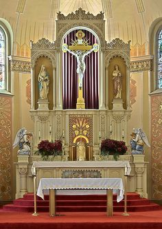 Saint Peter Roman Catholic Church, in Saint Charles, Missouri, USA - altar by msabeln, via Flickr