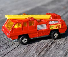 Metal Toy Car: Vintage Matchbox Toy Car The Blaze Buster Ladder Truck Fire Engine Made In England Right Hand Drive 1975 by SexyTrashVintage, $10.00