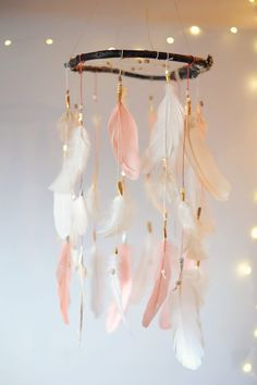 Coral Pink and Mint Dreamcatcher Mobile