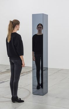 Jeppe Hein, Third Eye (2014), Two-way mirror, powder coated steel, candle