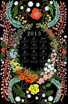 Language of Flowers 2013 giclee print wall calendar. $32.25, via Etsy.