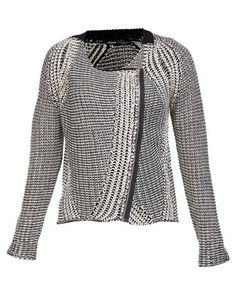 Step out in style with this Knit Jacket by Crave. This chic design is beige and black incolour, while it showcases a knit finish. Featuring long sleeves and a zip-thrufront, it offers a regular length hemline and a rounded neckline. Boasting afitted shape when closed, it displays large lapels when unzipped. Perfect forthe modern woman, dress it with skinny jeans, boots and a basic tee for acasual occasion.