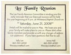 Family Reunion Ideas | Family Reunion Invitation  Invitations For Family Reunion