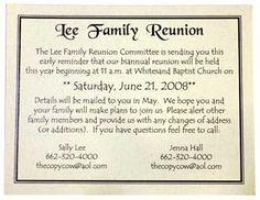 family reunion ideas   Family reunion invitation