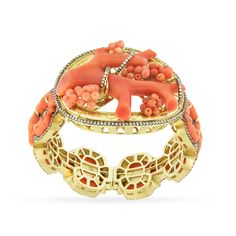 18 carat gold, diamond and Sicilian coral bracelet