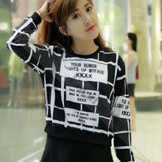 Fashion Plaid Grid Printed Crop Tops Pullover High Waist Short Coat White Black