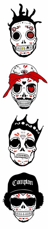 gangster sugar skulls, tupac, biggie, eazy e, odb