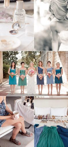 Love the variety in bridesmaid dresses -- all different styles and colours, yet they're from the same colour palette so it somehow works.
