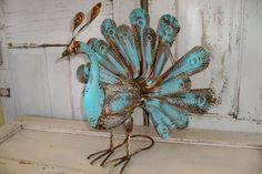 Large rusty peacock sculpture hand painted metal statue aqua free standing bird home decor Anita Spero