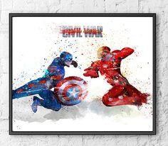 Rächer Aquarell Print Eisen Mann Captain America von gingerkidsart