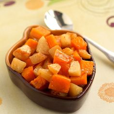 Roasted Butternut Squash and Apples Sprinkled with Flour
