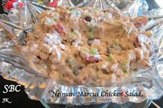 Neiman Marcus Chicken Salad (Photo and Recipe by Judy K)  Ingredients 2 1/2 Cup diced cold chicken (about 4 breast) 1 Cup celery chopped fine 2 Cup sliced grapes 2 Cup sliced almonds  2 Tablespoon minced parsley 1 teaspoon salt 1 teaspoon white pepper 1 Cup Mayo 3/4 Cup heavy cream (whipped)  Directions:  Combine all ingredients and let salad sit in fridge at least 2 hours before serving. Enjoy! Serves 6  Friend/Follow me I am always posting awesome stuff