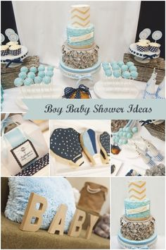 Up and Away: Hot Air Balloon + Elephants Boy Baby Shower - Spaceships and Laser Beams