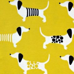 Preppy Puppy Saffron organic cotton jersey. What a sweet quilt back this would make.