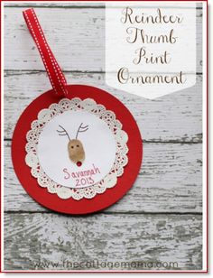 Reindeer Thumb Print ♥ http://felting.craftgossip.com/2014/10/21/reindeer-thumb-print-ornament/