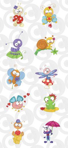 figuritas:caracol, rana, mariposa