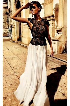 Maxi Skirt http://www.chictopia.com/photo/show/691022-Elegance-black-lace-blouse-white-maxi-skirt