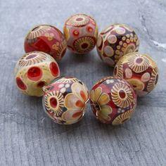 MruMru Handmade lampwork beads. VALENTINE BOROS. Big Artisian Borosilicate glass beads. Sra