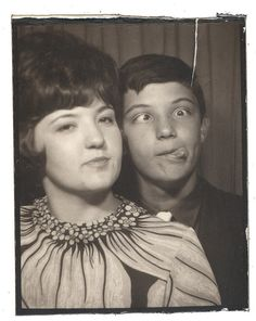 Photo booth c.1960s I love it he's making that face and she's like that's a guy for ya.