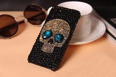 New Punk style Luxury Metal Saphire eye Skull Skeleton Diamond Phone Case for Apple iphone 4s 5 5s 5c 6 6 Plus Back Cover