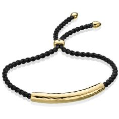 Monica Vinader Gold Vermeil Esencia Friendship Bracelet - Black (610 MYR) ❤ liked on Polyvore featuring jewelry, bracelets, accessories, gold vermeil jewelry, adjustable friendship bracelet, engraved bangle, friendship bracelet and vermeil jewelry