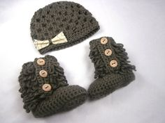 Baby Girl Clothes Crochet Baby Booties Hat by stitchesbystephann, $42.00