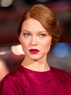 Lea Seydoux | Red Lips and Finger Waves Updo